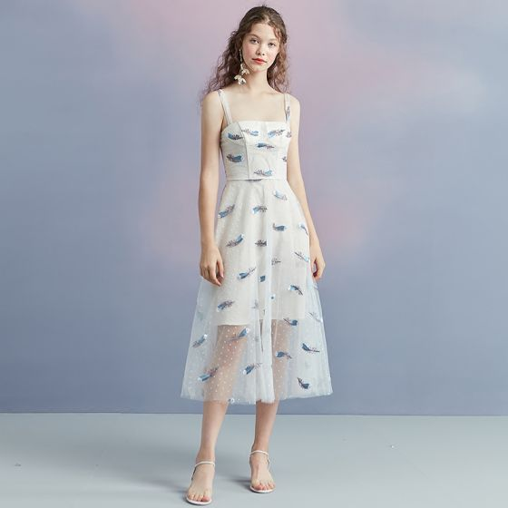 a801dc0f546 Chic   Beautiful Ivory Summer Homecoming Graduation Dresses 2018 A-Line    Princess Shoulders Sleeveless Spotted Printing ...