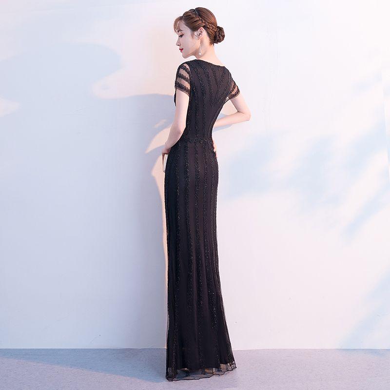 Amazing / Unique Black Floor-Length / Long Evening Dresses  2018 Trumpet / Mermaid Lace Tulle V-Neck Formal Dresses