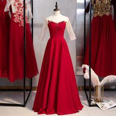 Elegant Burgundy Evening Dresses  2020 A-Line / Princess Scoop Neck Rhinestone Pearl Lace Flower 3/4 Sleeve Backless Floor-Length / Long Formal Dresses