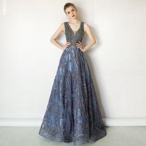 Luxury / Gorgeous Ocean Blue Handmade  Beading Evening Dresses  2019 A-Line / Princess V-Neck Crystal Lace Flower Sleeveless Backless Sweep Train Formal Dresses