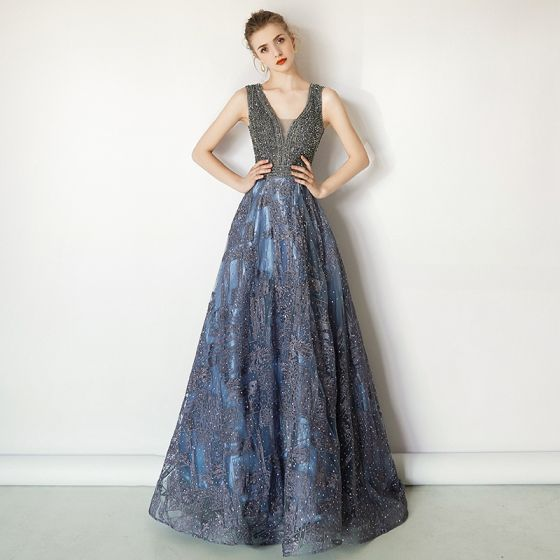 82527778db2 Luxury   Gorgeous Ocean Blue Handmade Beading Evening Dresses 2019 A-Line    Princess V-Neck Crystal Lace Flower Sleeveless ...