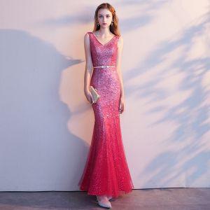 Charming Red Evening Dresses  2019 Trumpet / Mermaid V-Neck Glitter Tulle Sash Sleeveless Backless Floor-Length / Long Formal Dresses