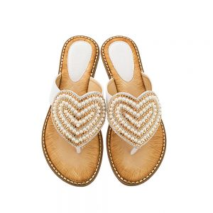 Chic / Beautiful Summer White Casual Slipper & Flip flops 2020 Pearl Rhinestone Open / Peep Toe Womens Sandals