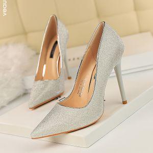 Modest / Simple Silver Casual Pumps 2019 Sequins 10 cm Stiletto Heels Pointed Toe Pumps