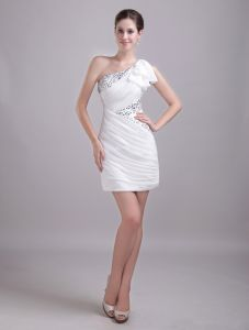 2015 Faultless Ruched One-shoulder White Cocktail Dress