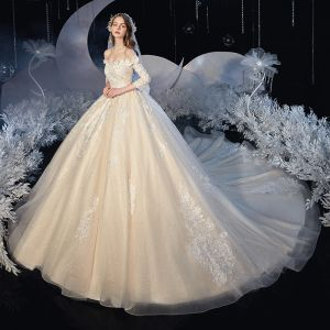 Best Champagne Bridal Wedding Dresses 2020 Ball Gown Off-The-Shoulder 3/4 Sleeve Backless Appliques Lace Beading Glitter Tulle Cathedral Train Ruffle