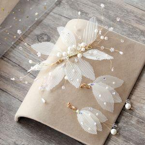 Klassisk Elegant Hvit Øredobber Hodepynt 2019 Tyll Beading Krystall Perle Rhinestone Bryllup Ball Tilbehør