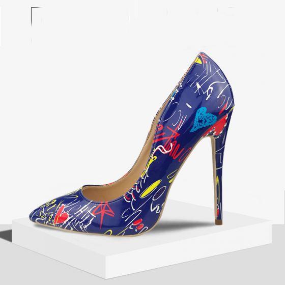 Amazing / Unique Casual Royal Blue Doodle Pumps 2020 11 cm Stiletto Heels Pointed Toe Pumps