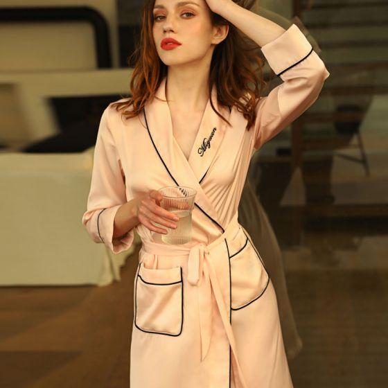 Chic / Beautiful Pearl Pink Wedding Bridal Bridesmaid V-Neck 3/4 Sleeve Silk Robes 2020 Embroidered Sash