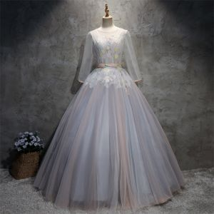 Chic / Beautiful Grey Prom Dresses 2018 Ball Gown Appliques Sash Scoop Neck Backless Long Sleeve Floor-Length / Long Formal Dresses
