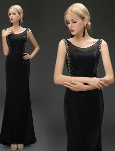 Mermaid Scoop Neckline Beading Sequins Rhinestone Backless Black Evening Dress