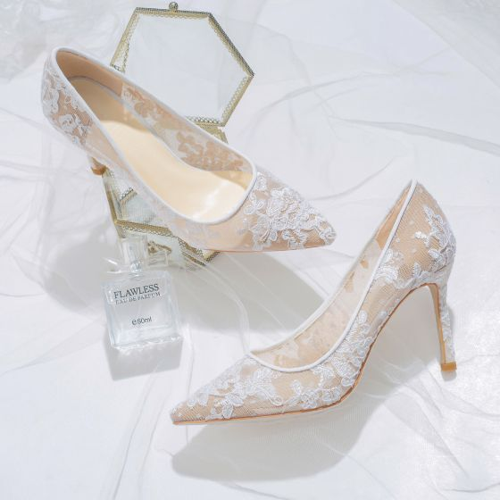Chic / Beautiful Ivory Lace Flower Wedding Shoes 2020 Leather 8 cm Stiletto Heels Pointed Toe Pierced Wedding Pumps