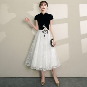 Chinese style Black Homecoming Graduation Dresses 2019 A-Line / Princess High Neck Lace Flower Star Short Sleeve Tea-length Formal Dresses