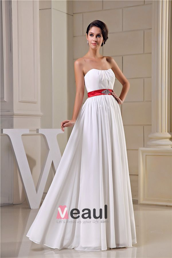 2015 Einfache Reich Hochzeitskleid Bodenlange Brautkleid Mit Roter Schärpe