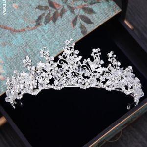 Glitzernden Silber Diadem 2018 Metall Strass Kristall Hochzeit Brautaccessoires