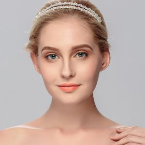 Modest / Simple Silver Headpieces Bridal Hair Accessories 2020 Metal Crystal Rhinestone Wedding Hair Hoop