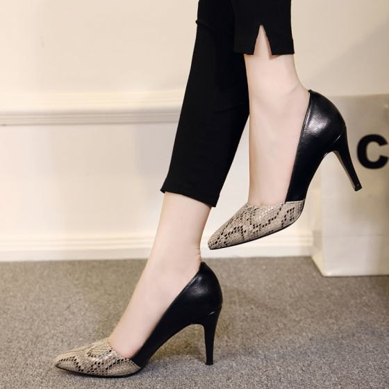 Chic / Beautiful 2017 8 cm / 3 inch Black White Casual Cocktail Party Evening Party Outdoor / Garden PU Summer High Heels Stiletto Heels Pumps