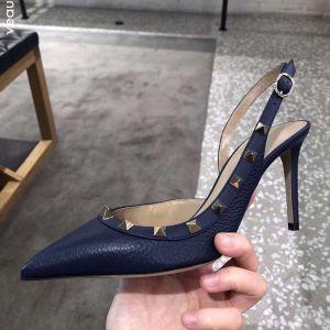 Schöne Marineblau Strassenmode Niet Sandalen Damen 2020 Knöchelriemen 8 cm Stilettos Spitzschuh Sandaletten