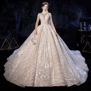 Luxury / Gorgeous Vintage / Retro Champagne See-through Wedding Dresses 2020 Ball Gown High Neck Long Sleeve Backless Glitter Tulle Appliques Lace Handmade  Beading Cathedral Train Ruffle