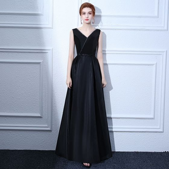 2107bc3046a modest-simple-black-evening-dresses-2017-a-line-princess-beading-bow-v-neck- backless-sleeveless-ankle-length-formal-dresses-560x560.jpg
