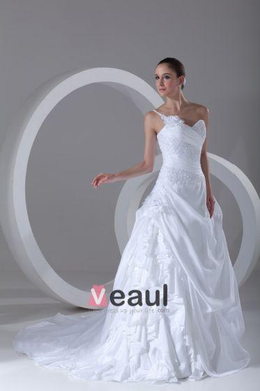 Taft Rüschen Blumen Perlen One Shoulder Hofzug Ballkleid Frauen A Linie Brautkleider