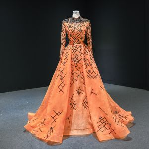 Luxury / Gorgeous Orange Red Carpet Evening Dresses  2020 A-Line / Princess High Neck Long Sleeve Appliques Sequins Beading Sweep Train Ruffle Formal Dresses