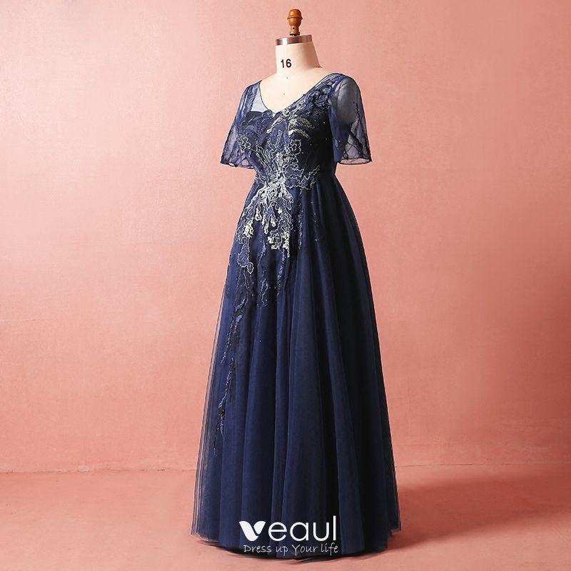 Modest / Simple Navy Blue Plus Size Evening Dresses 2018 Summer V-Neck 1/2  Sleeves A-Line / Princess Tulle Lace Crossed Straps Appliques Backless ...