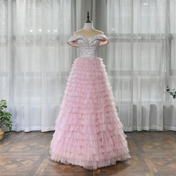 High-end Blushing Pink Dancing Prom Dresses 2020 A-Line / Princess Off-The-Shoulder Short Sleeve Glitter Polyester Floor-Length / Long Cascading Ruffles Backless Formal Dresses