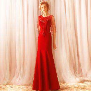 Modern / Fashion Red Sweep Train Evening Dresses  2018 Trumpet / Mermaid Charmeuse U-Neck Beading Tassel Formal Dresses