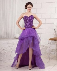 Stylish Ruffle Floor Length Beading Strapless Cathedral Train Sateen Gauze Prom Dresses