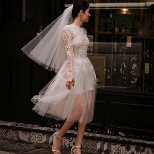 Chic / Beautiful White Beach Wedding Dresses 2018 A-Line / Princess Lace Flower Scoop Neck Backless Long Sleeve Tea-length Wedding