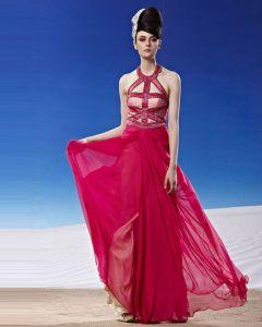 Mode Grimma Golvet Langd Beading Tencel Aftonklänningar