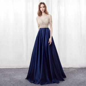 Moderne / Mode Bleu Marine Robe De Bal 2018 Princesse V-Cou Sans Manches Bustier Perlage Faux Diamant Longue Dos Nu Robe De Ceremonie