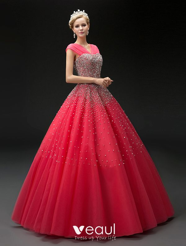 2016 Fashion Ball Gown Red Tulle V Neck Sequins Prom Dress
