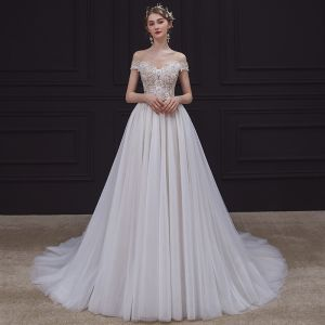 Illusion Champagne Bridal Wedding Dresses 2020 A-Line / Princess See-through Scoop Neck Sleeveless Backless Appliques Lace Beading Court Train Ruffle