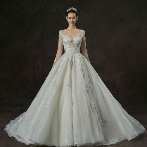 Luxury / Gorgeous Champagne Wedding Dresses 2019 A-Line / Princess Square Neckline 3/4 Sleeve Backless Appliques Lace Pearl Beading Cathedral Train Ruffle