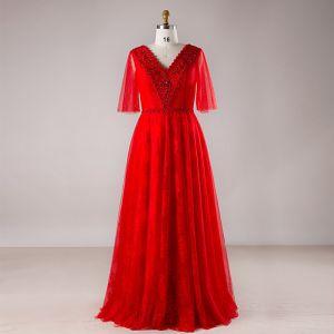 Luxe Rouge Grande Taille Robe De Soirée 2018 Princesse V-Cou Tulle Lacer Perlage Dos Nu Cristal Soirée Robe De Bal