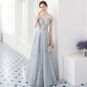 Illusion Silber Abendkleider 2019 A Linie U-Ausschnitt Kurze Ärmel Glanz Tülle Metall Stoffgürtel Lange Rüschen Rückenfreies Festliche Kleider