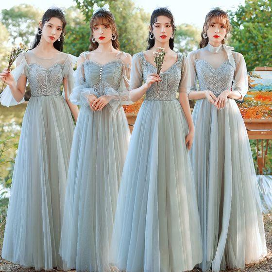 Modest / Simple Sage Green Ruffle Bridesmaid Dresses 2021 A-Line / Princess V-Neck Short Sleeve Backless Floor-Length / Long Wedding Party Dresses
