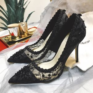 Charming Black Lace Evening Party Pumps 2019 Lace Beading Sequins 9 cm Stiletto Heels Pointed Toe Pumps