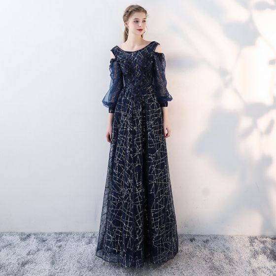 Chic / Beautiful Navy Blue Evening Dresses  2018 A-Line / Princess Lace Appliques Beading Sequins Scoop Neck Backless Strapless 3/4 Sleeve Floor-Length / Long Formal Dresses