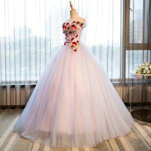Elegante Pink Quinceañera Ballkleider 2018 Ballkleid Stickerei Applikationen Bandeau Rückenfreies Ärmellos Lange Festliche Kleider