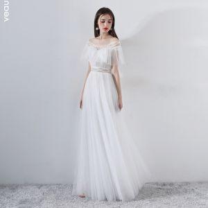 Mode Weiß Abendkleider 2018 A Linie Perlenstickerei Off Shoulder Kurze Ärmel Lange Rüschen Rückenfreies Festliche Kleider