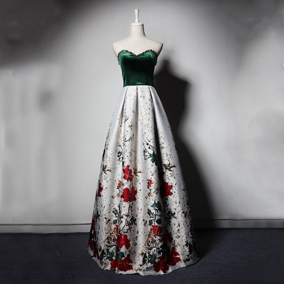 Stylowe / Modne Ciemnozielony Białe Zamszowe Sukienki Wieczorowe 2019 Princessa Kochanie Bez Rękawów Frezowanie Druk Kwiat Długie Wzburzyć Bez Pleców Sukienki Wizytowe