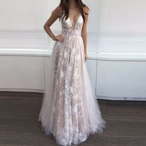 Sexy Beige Maxi Dresses 2018 A-Line / Princess Lace V-Neck Backless Sleeveless Floor-Length / Long Womens Clothing