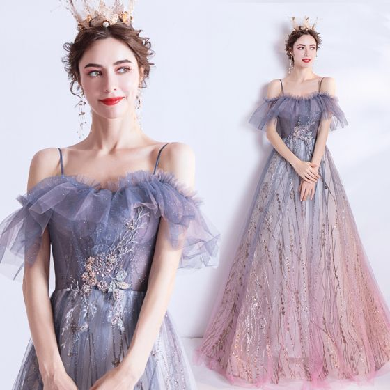 Elegant Purple Gradient-Color Blushing Pink Evening Dresses  2020 A-Line / Princess Spaghetti Straps Short Sleeve Appliques Lace Sequins Glitter Tulle Floor-Length / Long Ruffle Backless Formal Dresses