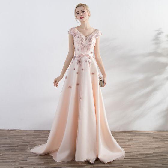 Elegant Candy Pink Formal Dresses A-Line / Princess 2017 Lace Flower Bow Beading Backless V-Neck Short Sleeve Court Train Prom Dresses