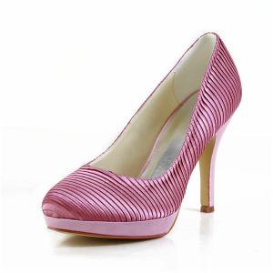 Unieke Candy Roze Feestschoenen Ruches Satijnen Stiletto Pumps