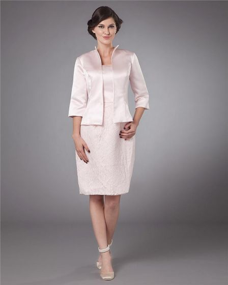 Absorbing Square Knee Length Satin Applique Mother of the Bride Dress
