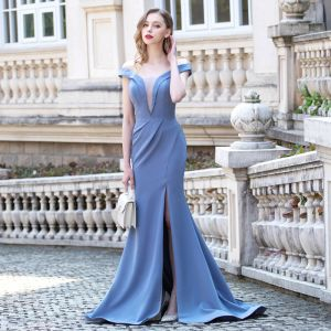 Sexy Ocean Blue Evening Dresses  2020 Trumpet / Mermaid Deep V-Neck Off-The-Shoulder Short Sleeve Split Front Sweep Train Ruffle Backless Formal Dresses